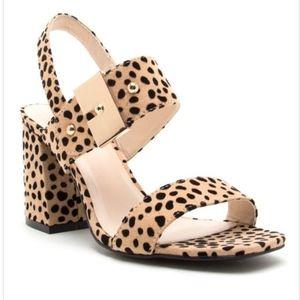 Beige Cheetah Print Ankle Strap Heels